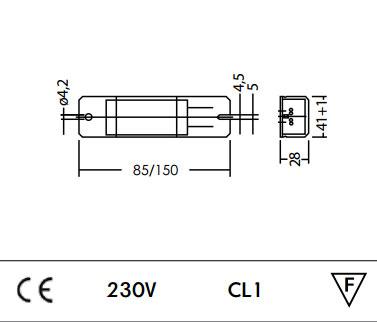 ballast 1x18w g24d2 ferro